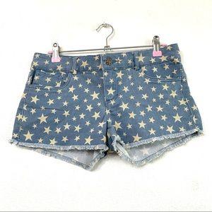 Papaya Star Print Frayed Jean Shorts Sz L